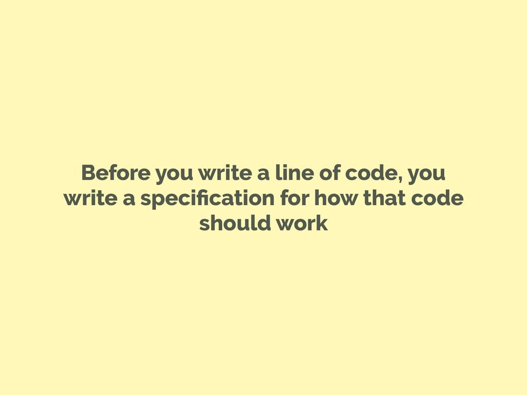 Before you write a line of code, you write a sp...