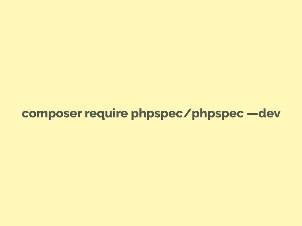 composer require phpspec/phpspec —dev