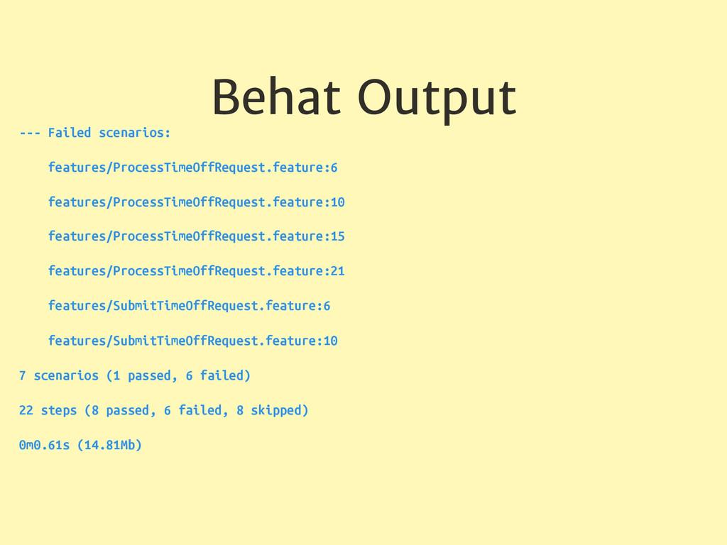 Behat Output --- Failed scenarios: features/Pro...