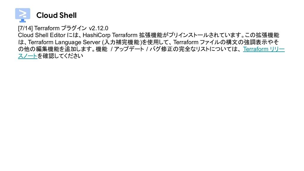 Cloud Shell [7/14] Terraform プラグイン v2.12.0 Clou...