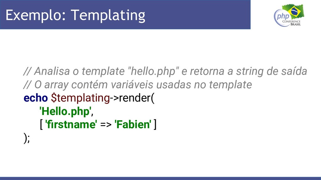 "Exemplo: Templating // Analisa o template ""hell..."