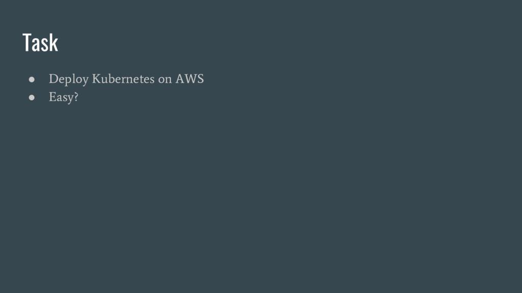 Task ● Deploy Kubernetes on AWS ● Easy?