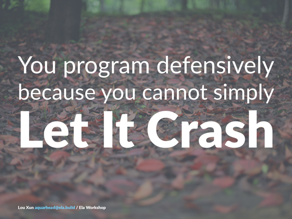 You$program$defensively because'you'cannot'simp...