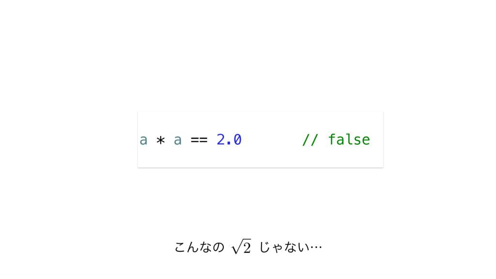 ͜Μͳͷ㲋͡Όͳ͍ʜ a * a == 2.0 // false p 2