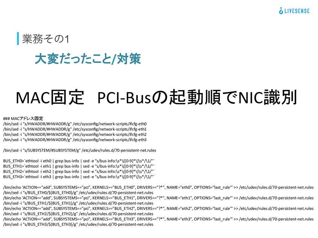 ۀͦͷ1 大変だったこと/対策 MAC固定 PCI-‐Busの起動順でNIC識別 ...