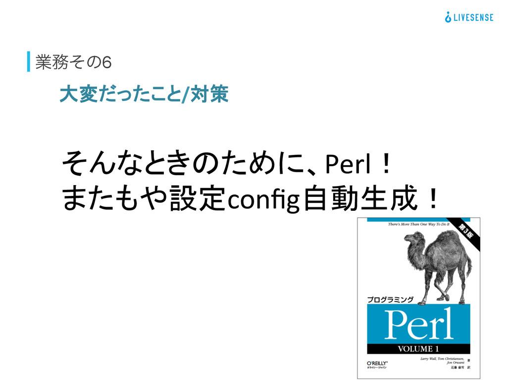 ۀͦͷ6 大変だったこと/対策 そんなときのために、Perl!  またもや設定co...