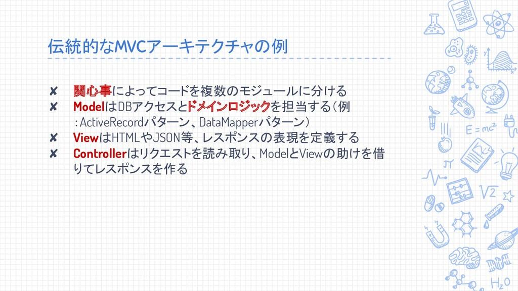 伝統的なMVCアーキテクチャの例 ✘ 関心事によってコードを複数のモジュールに分ける ✘ Mo...