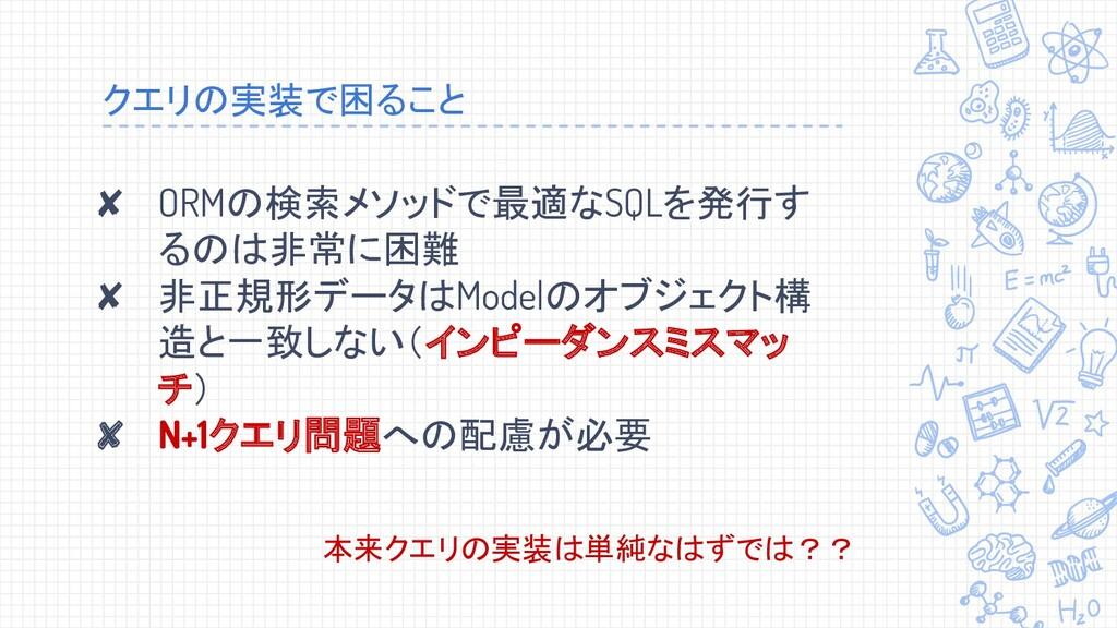 クエリの実装で困ること ✘ ORMの検索メソッドで最適なSQLを発行す るのは非常に困難 ✘ ...