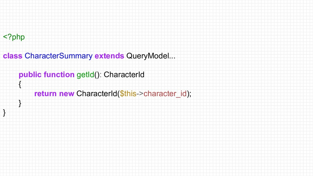 <?php class CharacterSummary extends QueryModel...