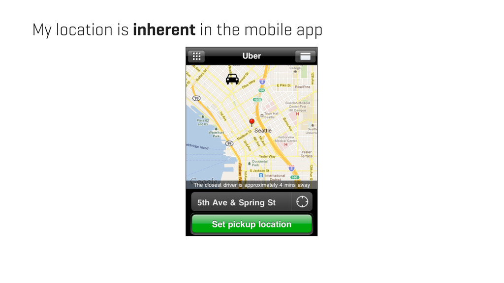 My location is inherent in the mobile app