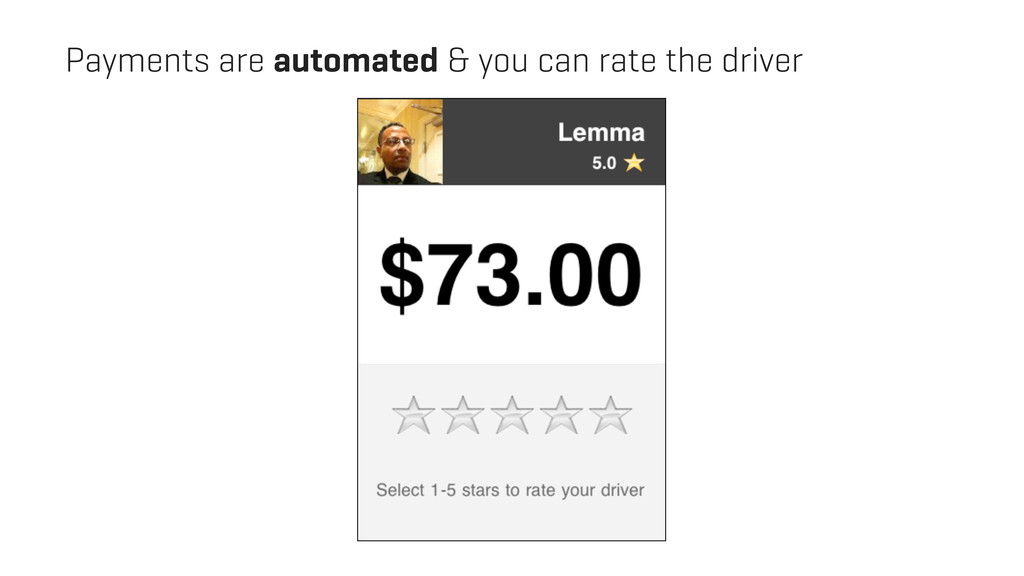 Payments are automated & you can rate the driver