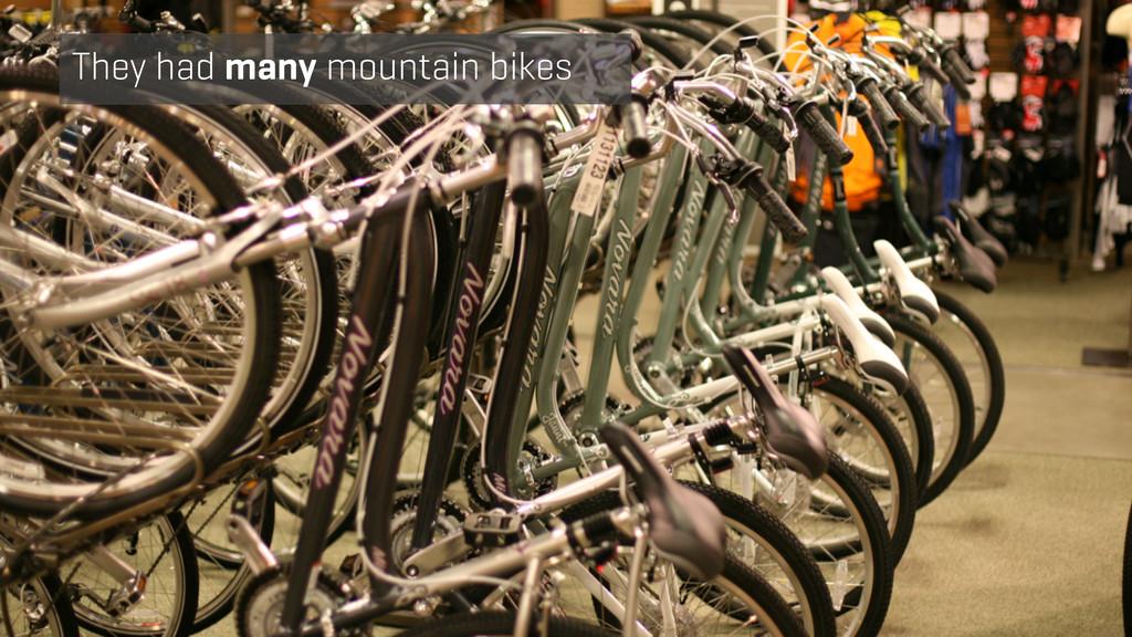 They had many mountain bikes