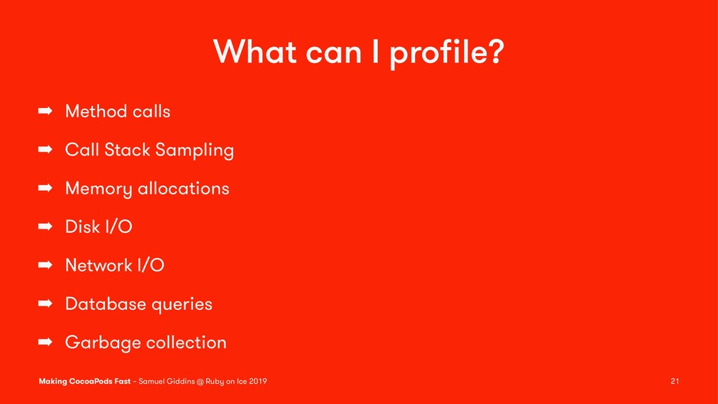 What can I profile? ➡ Method calls ➡ Call Stack ...