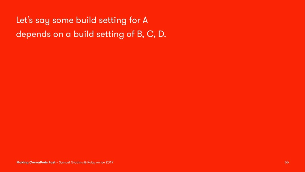 Let's say some build setting for A depends on a...