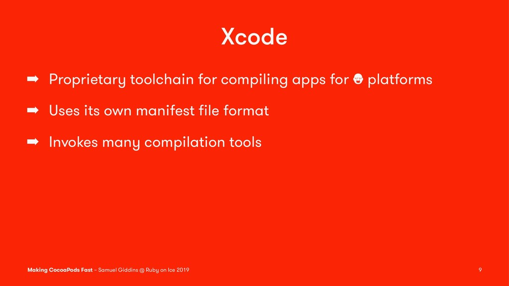 Xcode ➡ Proprietary toolchain for compiling app...
