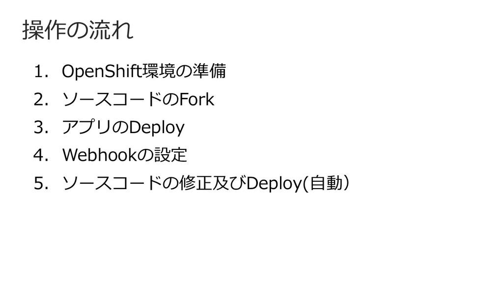 操作の流れ 1. OpenShift環境の準備 2. ソースコードのFork 3. アプリのD...