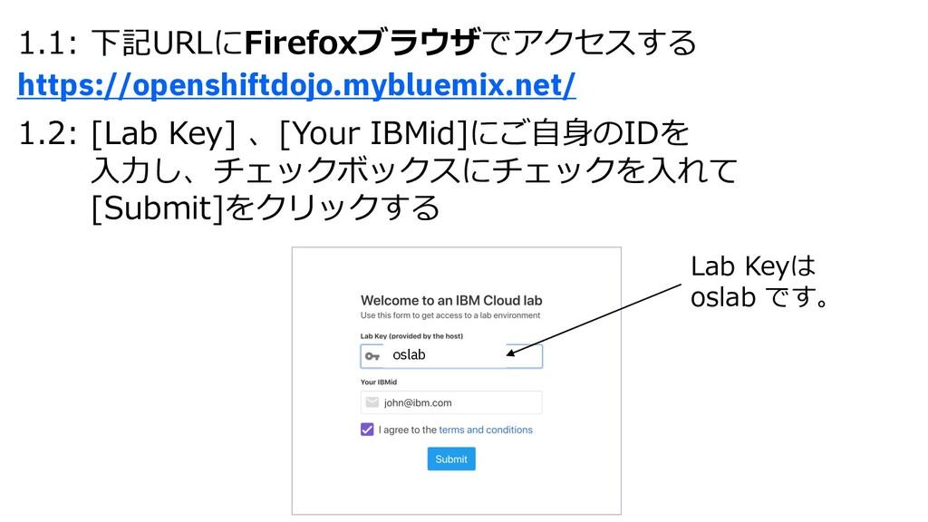 1.1: 下記URLにFirefoxブラウザでアクセスする https://openshift...