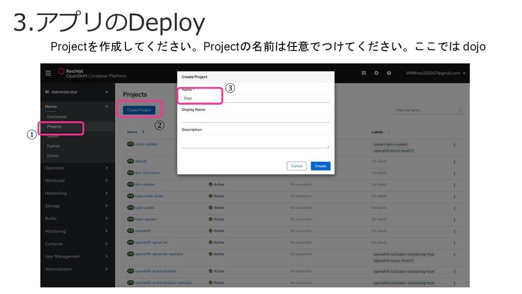 3.アプリのDeploy Projectを作成してください。Projectの名前は任意でつけて...