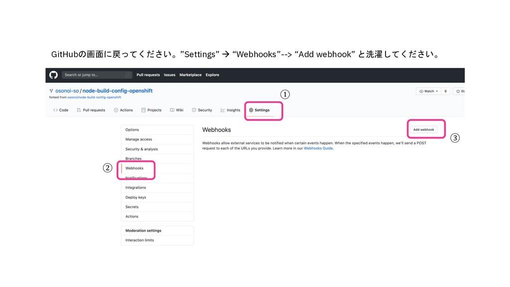 """GitHubの画面に戻ってください。""""Settings"""" à """"Webhooks""""--> """"A..."""