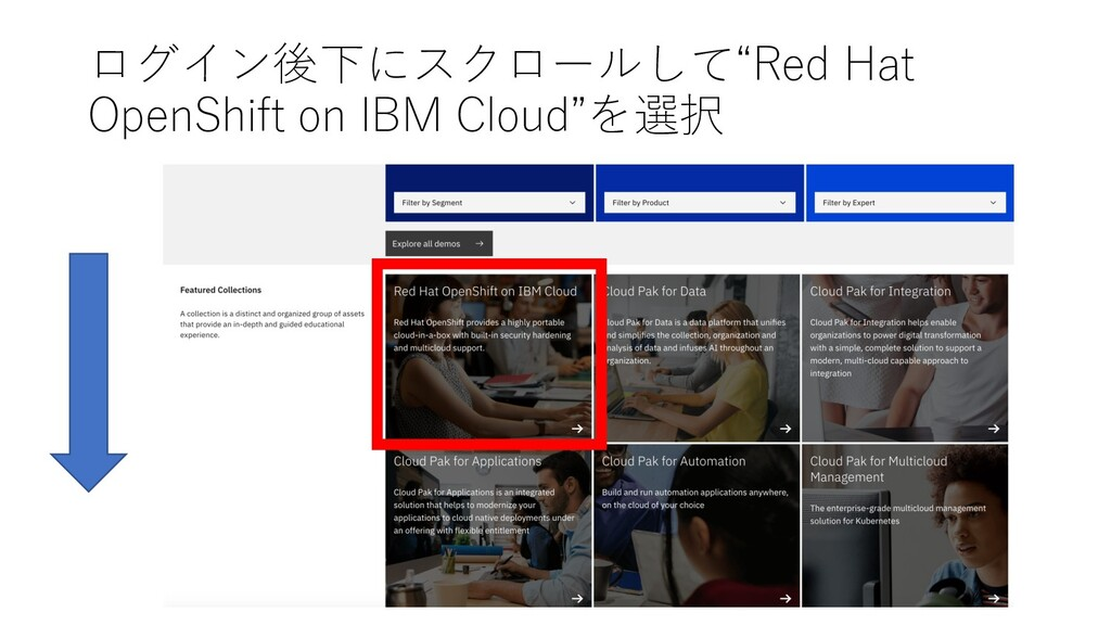 """ログイン後下にスクロールして""""Red Hat OpenShift on IBM Cloud""""を..."""