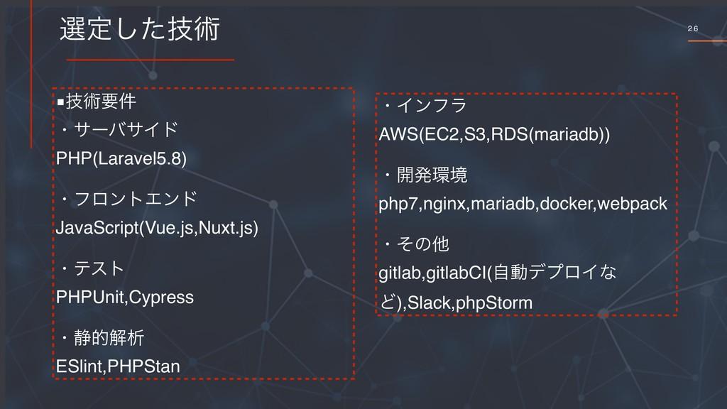 2 6 બఆٕͨ͠ज़ ■ٕज़ཁ݅ ɾαʔόαΠυ PHP(Laravel5.8) ɾϑϩϯτΤ...