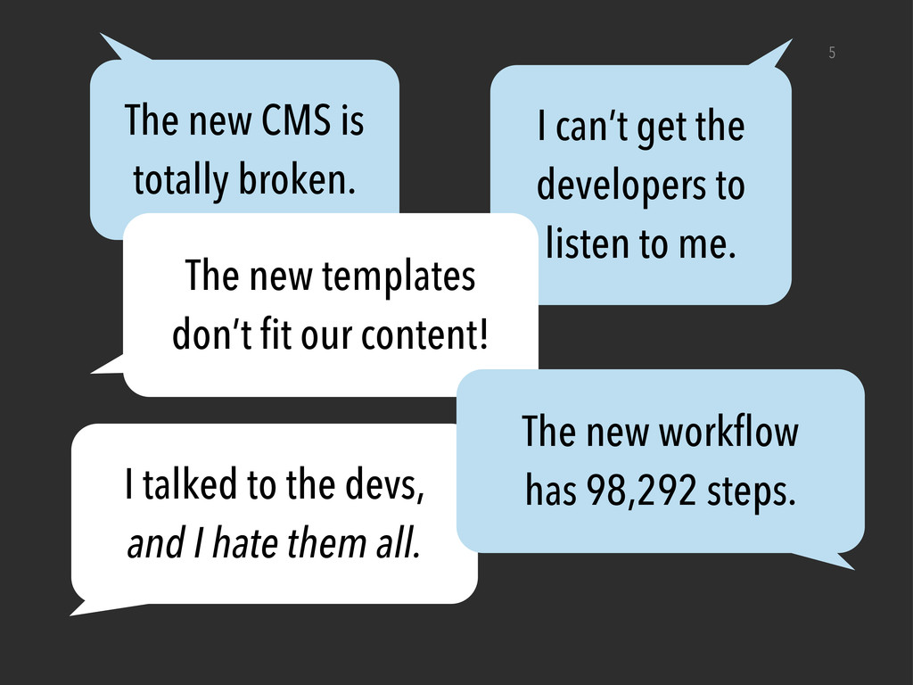 5 The new CMS is totally broken. I can't get th...