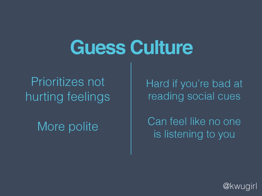 @kwugirl Guess Culture Prioritizes not  hurtin...
