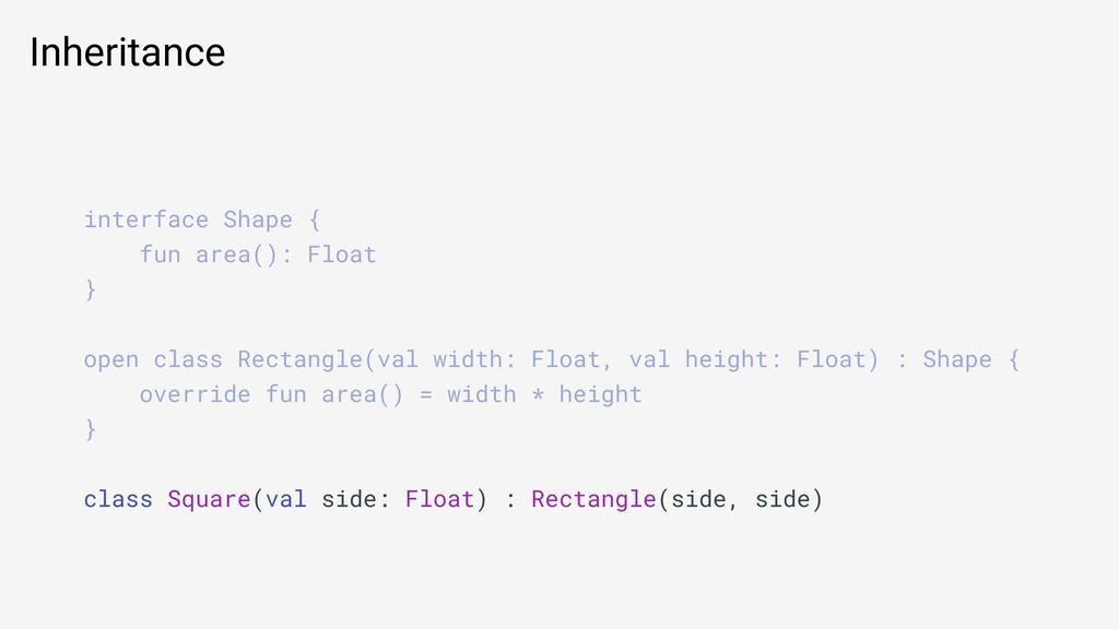 Inheritance interface Shape { fun area(): Float...