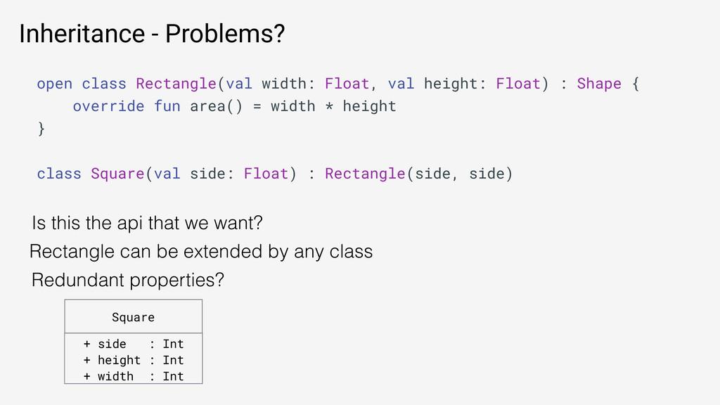 Inheritance - Problems? open class Rectangle(va...