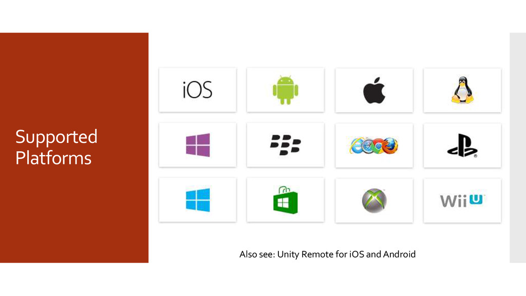 Supported Platforms Also see: Unity Remote for ...