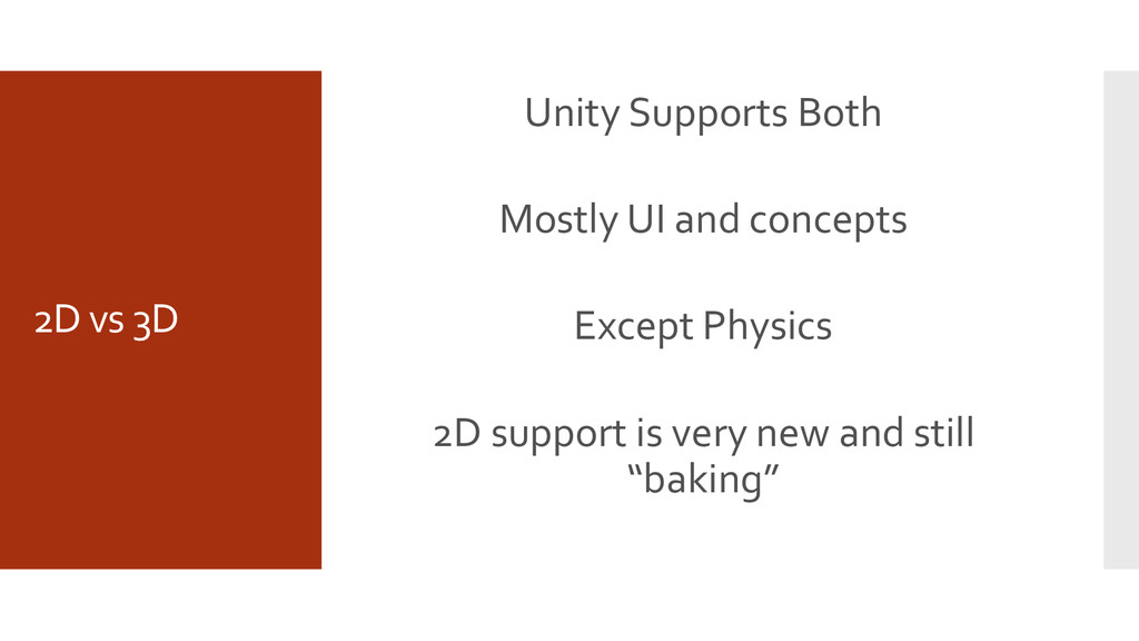 2D vs 3D Unity Supports Both Mostly UI and conc...