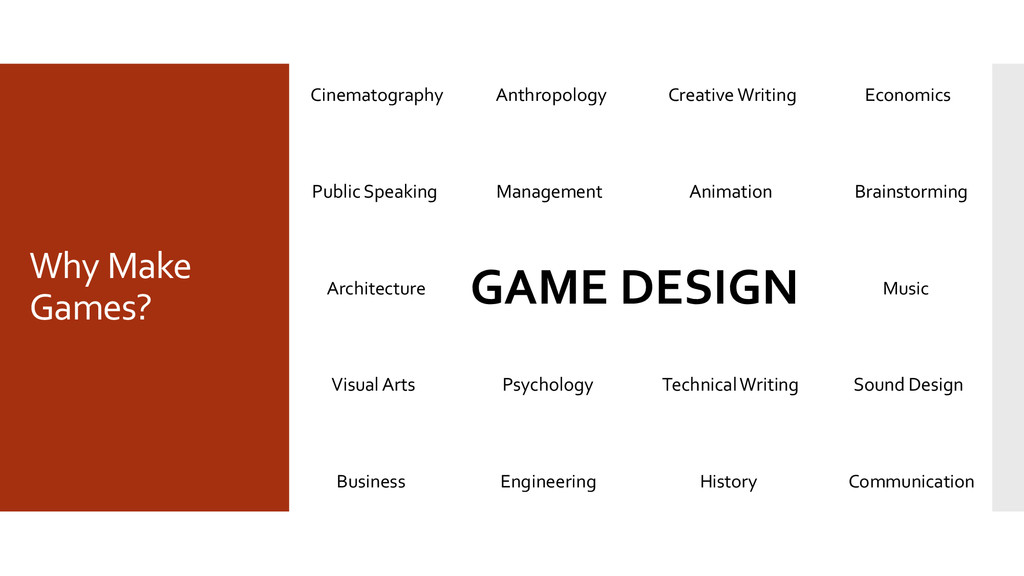 Why Make Games? GAME DESIGN Anthropology Animat...