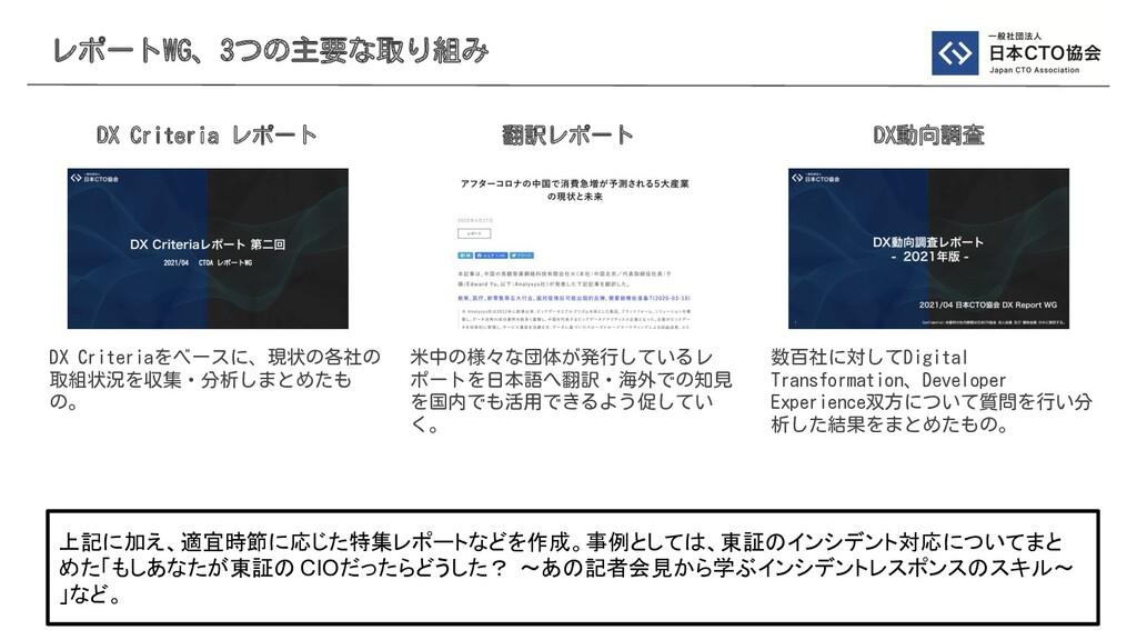 レポートWG、3つの主要な取り組み DX Criteria レポート 翻訳レポート DX動向調...