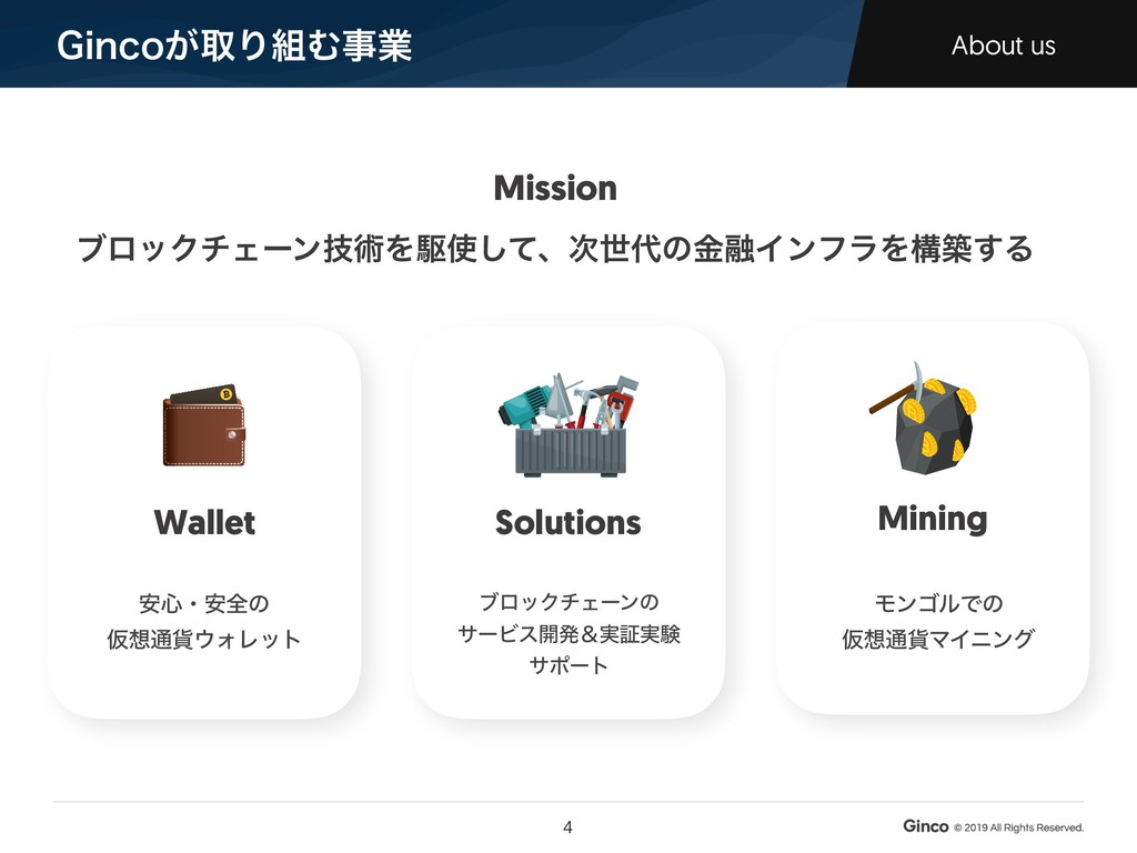 (JODP͕औΓΉࣄۀ About us !4 Wallet Solutions Minin...