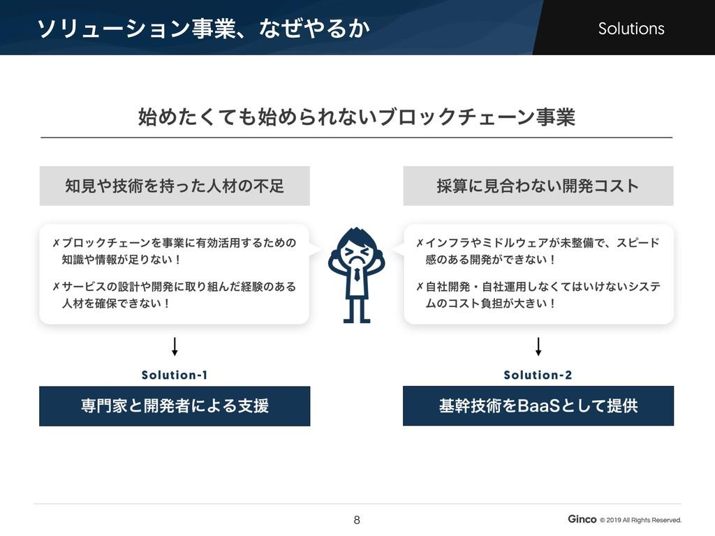 ιϦϡʔγϣϯࣄۀɺͳͥΔ͔ Solutions !8