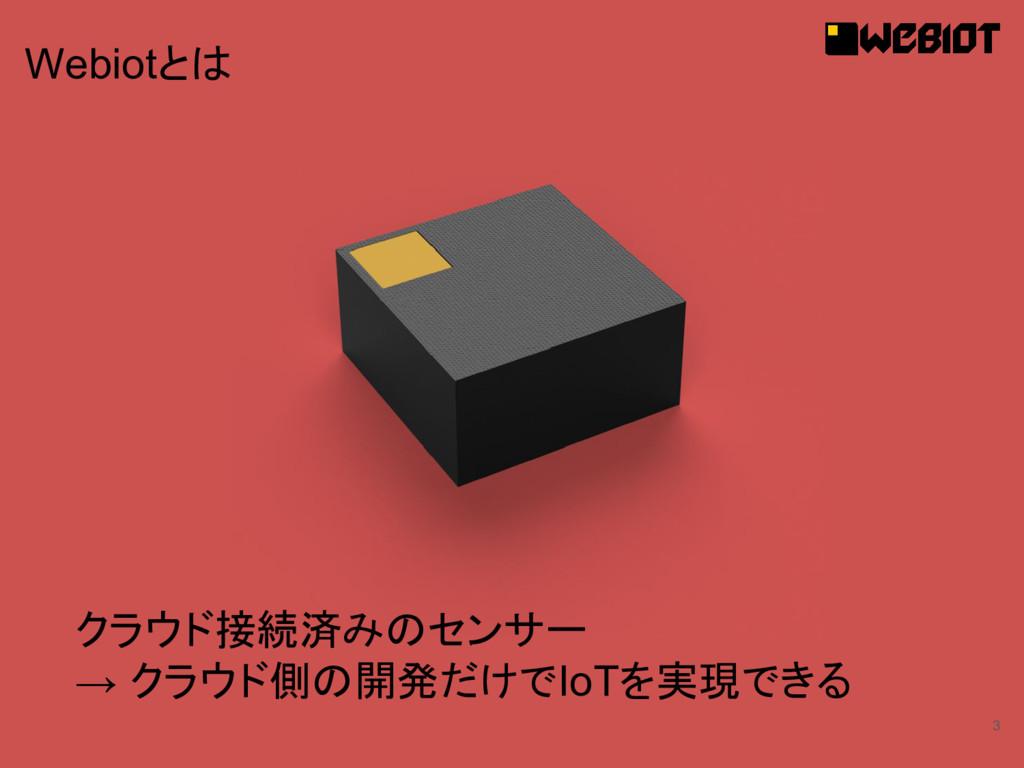 3 クラウド接続済みのセンサー → クラウド側の開発だけでIoTを実現できる Webiotとは