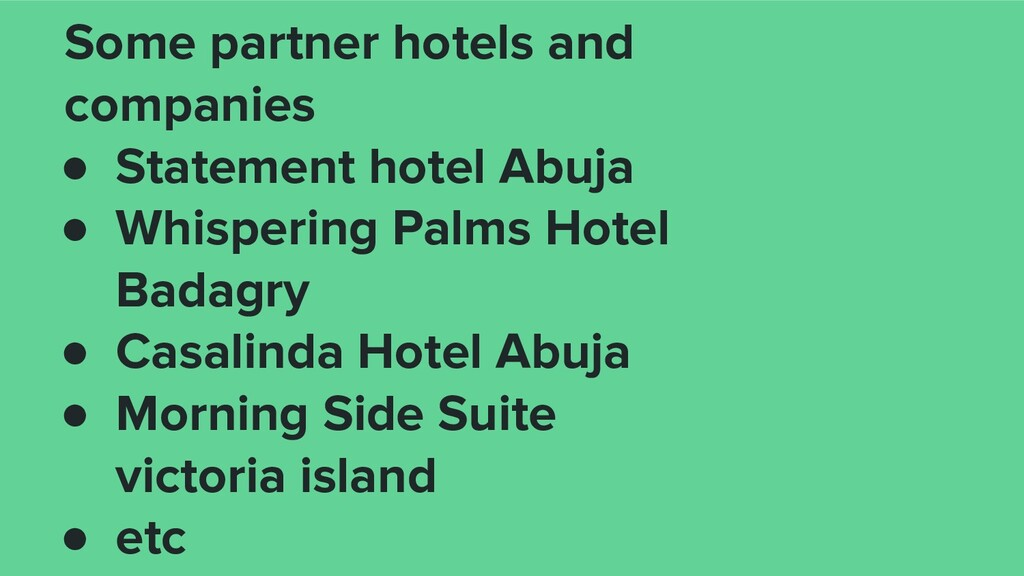 Some partner hotels and companies ● Statement h...