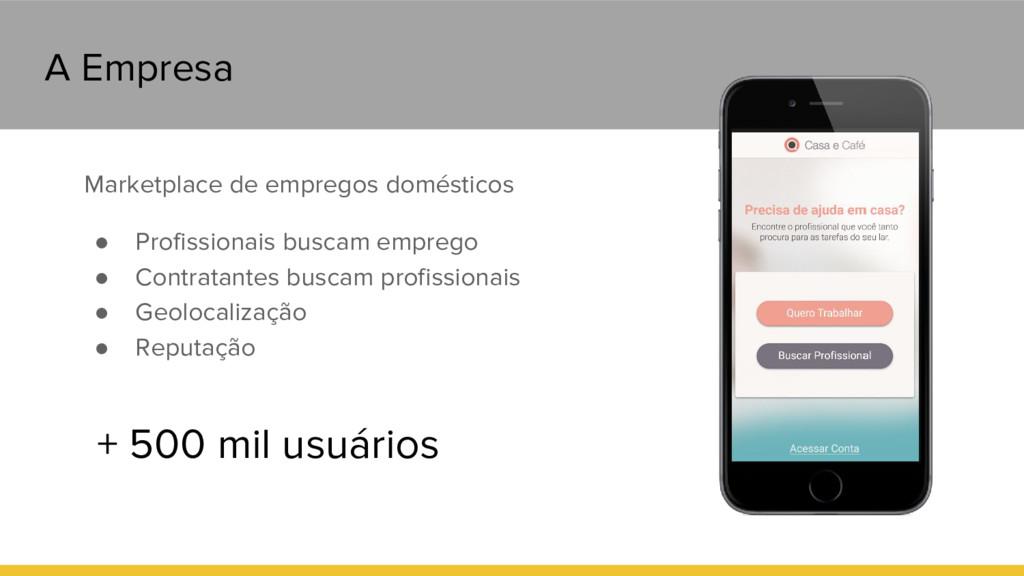 A Empresa Marketplace de empregos domésticos ● ...
