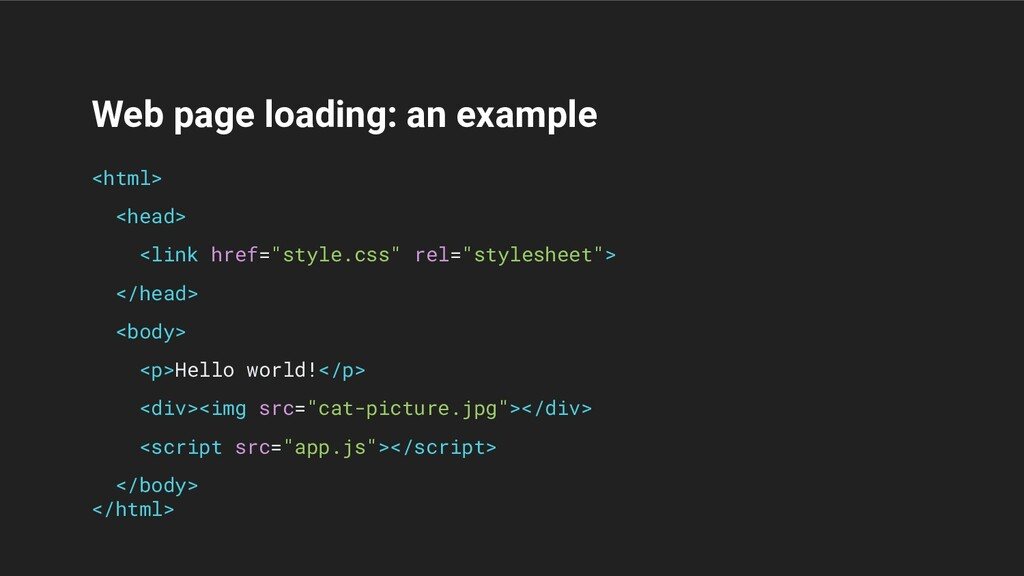 Web page loading: an example <html> <head> <lin...