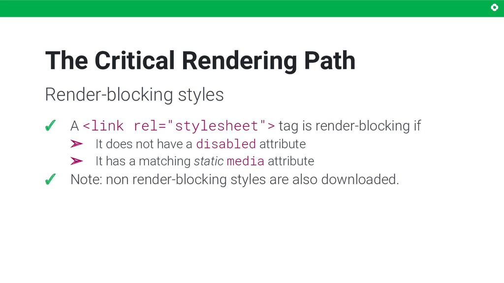 """The Critical Rendering Path ✓ A <link rel=""""styl..."""