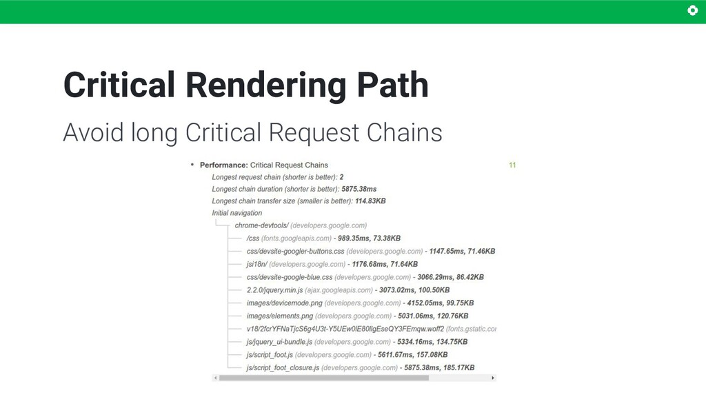 Critical Rendering Path Avoid long Critical Req...