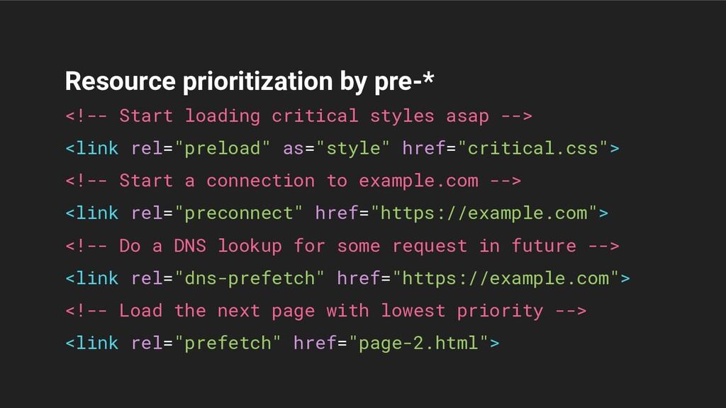 Resource prioritization by pre-* <!-- Start loa...