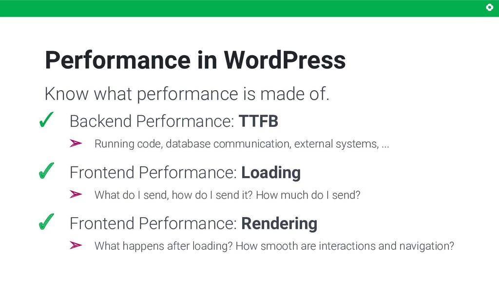 Performance in WordPress ✓ Backend Performance:...