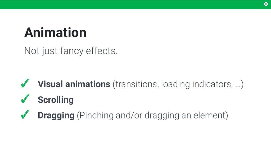 Animation ✓ Visual animations (transitions, loa...
