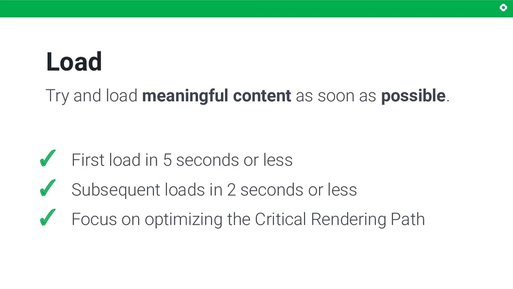 Load ✓ First load in 5 seconds or less ✓ Subseq...