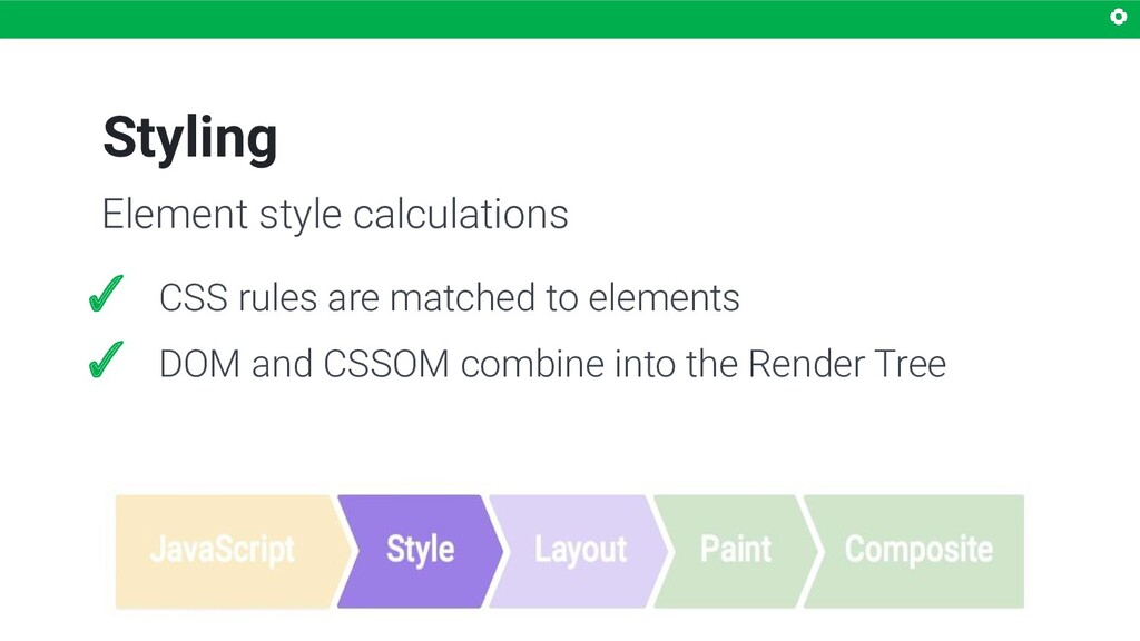 Styling ✓ CSS rules are matched to elements ✓ D...