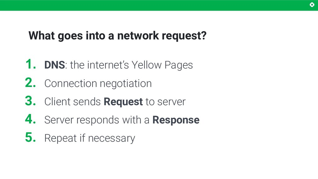 What goes into a network request? 1. DNS: the i...