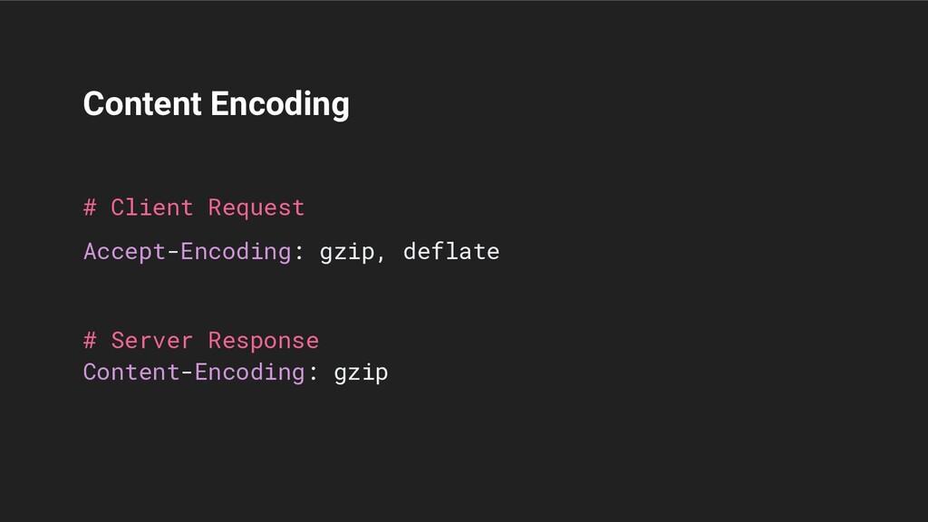 Content Encoding # Client Request Accept-Encodi...