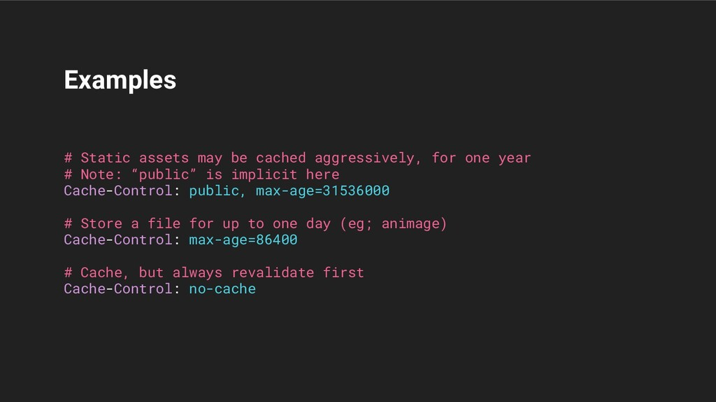 Examples # Static assets may be cached aggressi...