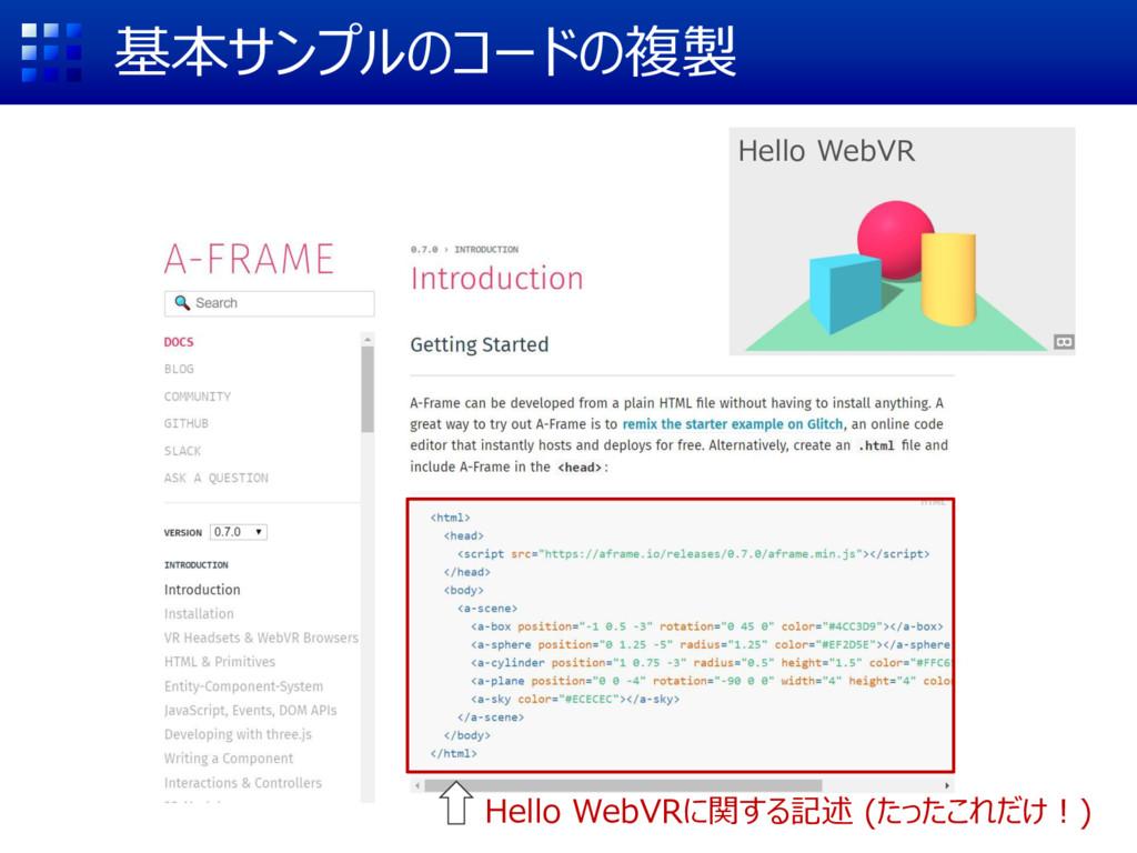 基本サンプルのコードの複製 Hello WebVRに関する記述 (たったこれだけ!) Hell...